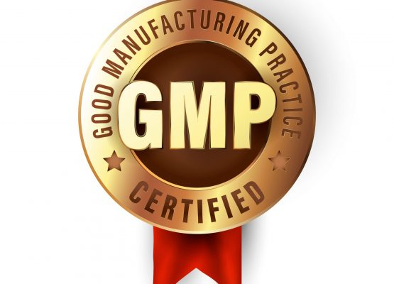 Good manufacturing practice stamp. GMP certified badge created in luxury gold style. Sticker for premium quality products. Industrial icon, vector